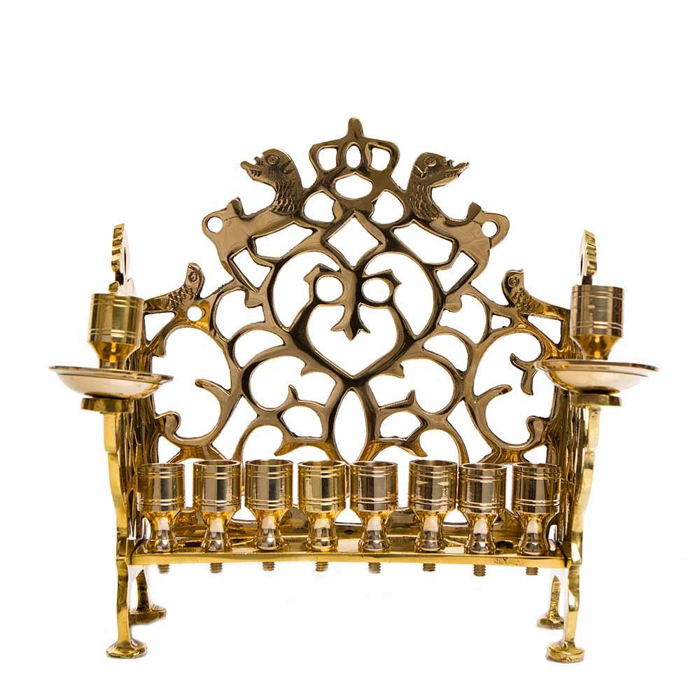 Hanukkah Lamp Adorned With Lions (cast Brass)