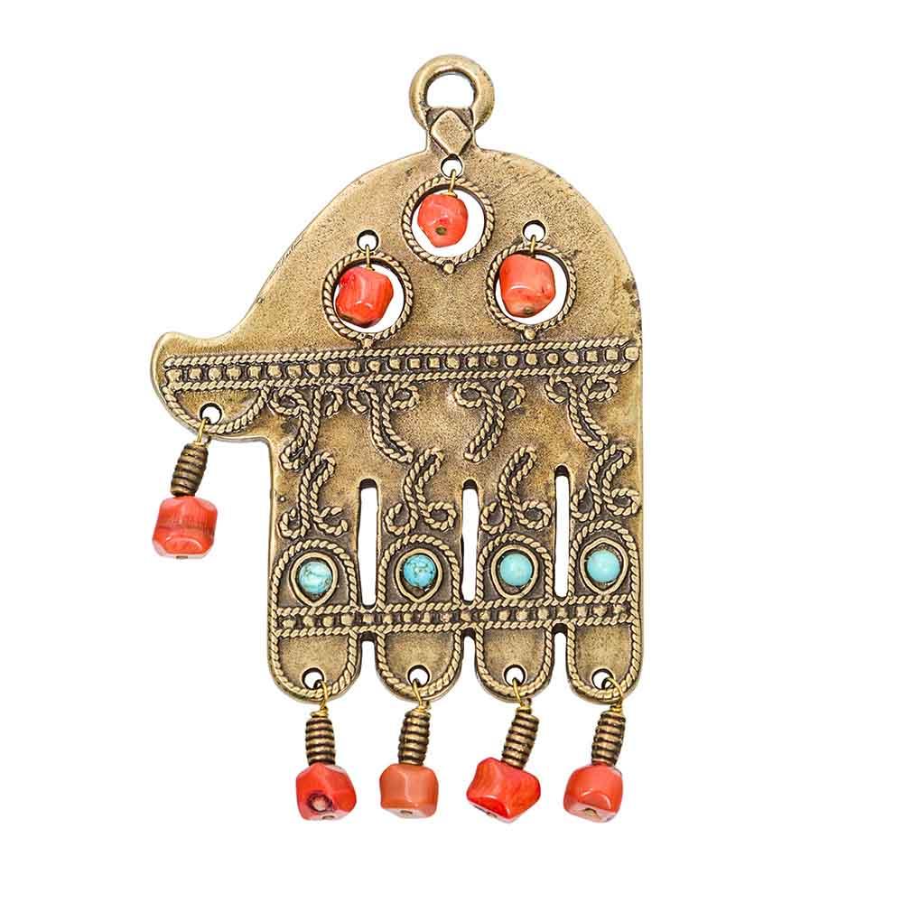Bead Hamsa Wall Hanging (brass)