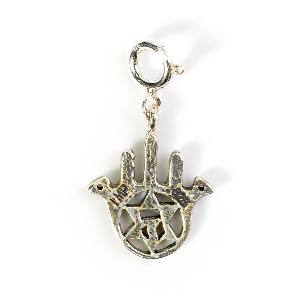 Bird Hamsa Bracelet Pendant, Silver