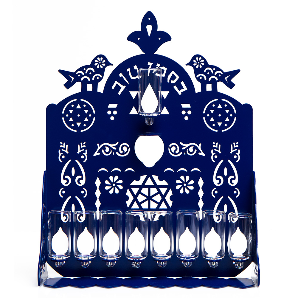Cut Hanukkah Lamp – Blue