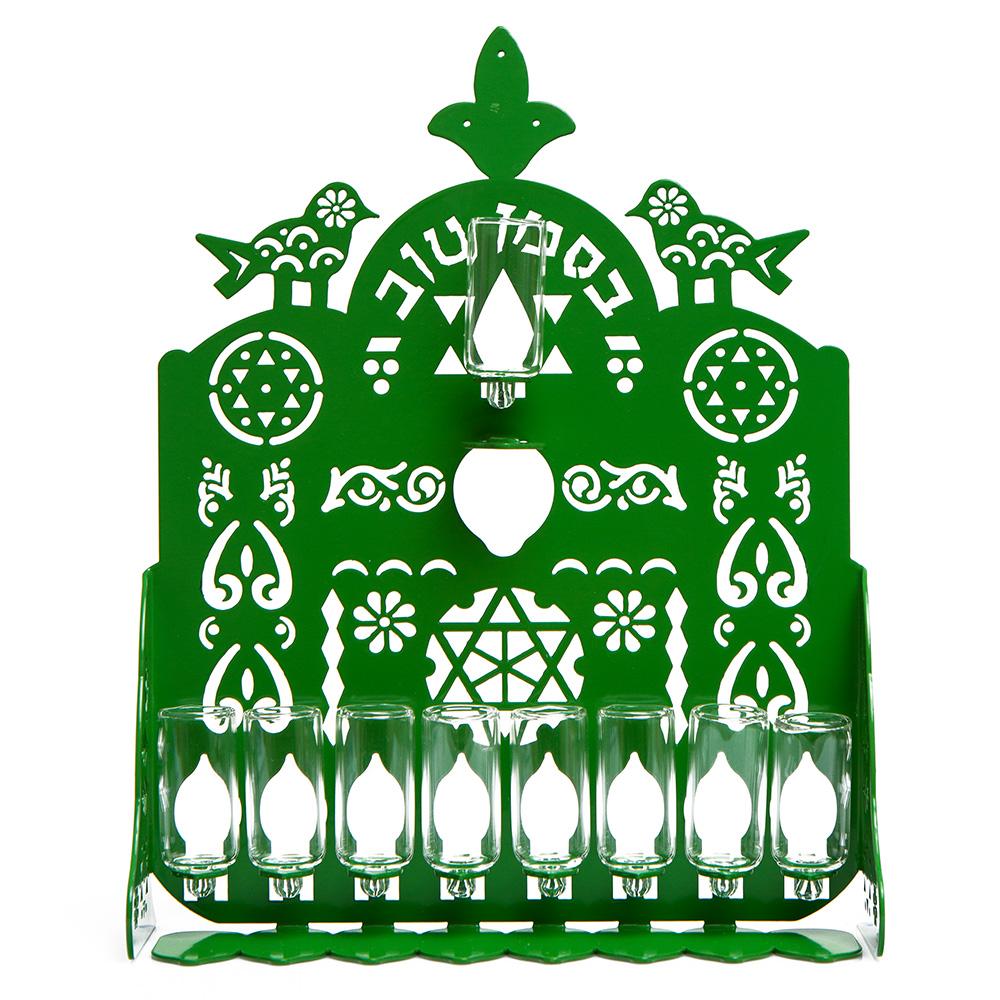 Cut Hanukkah Lamp – Green