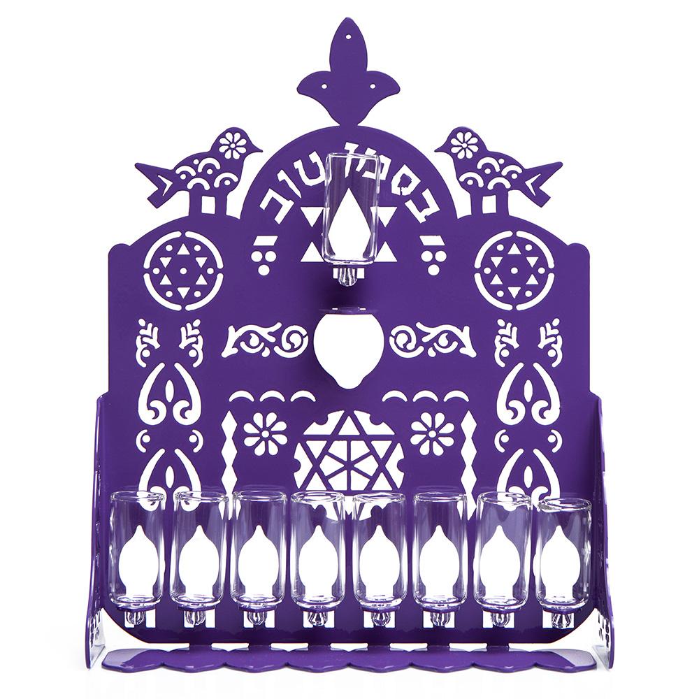 Cut Hanukkah Lamp – Purple
