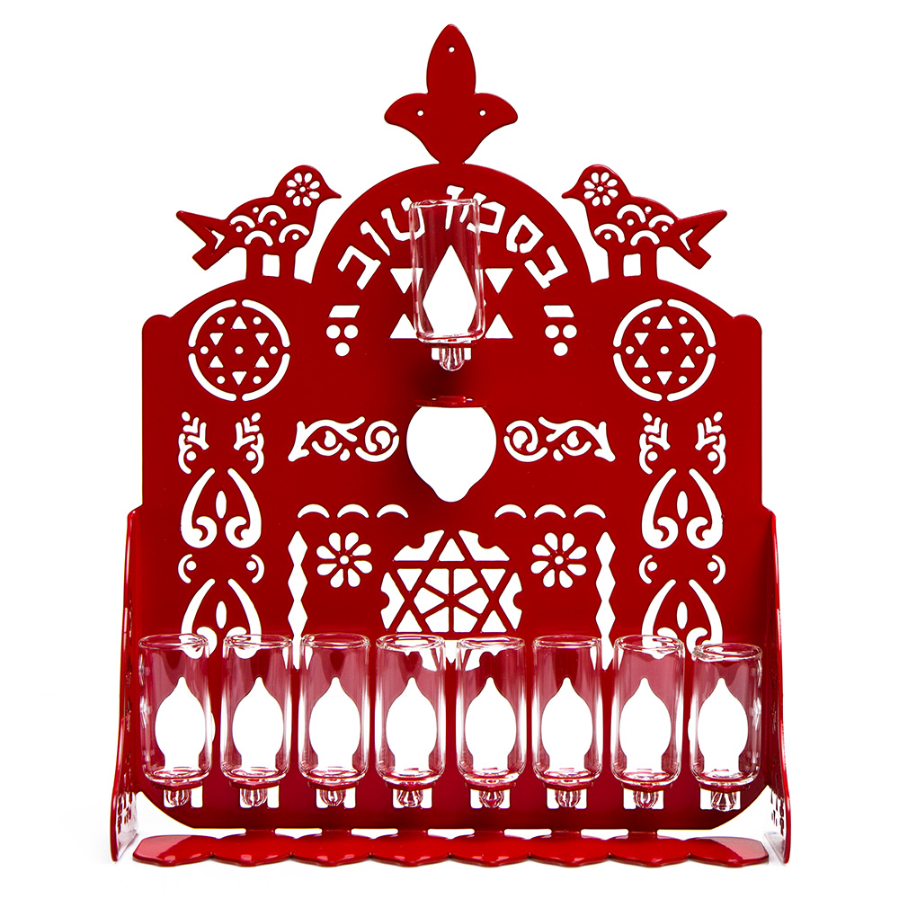 Cut Hanukkah Lamp – Red