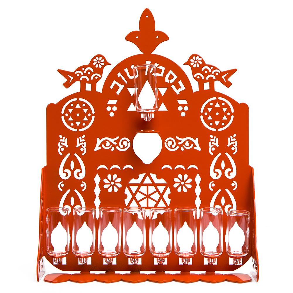 Cut Hanukkah Lamp – Orange
