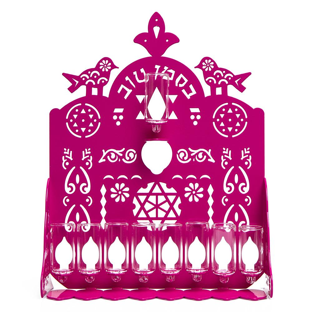 Cut Hanukkah Lamp – Pink