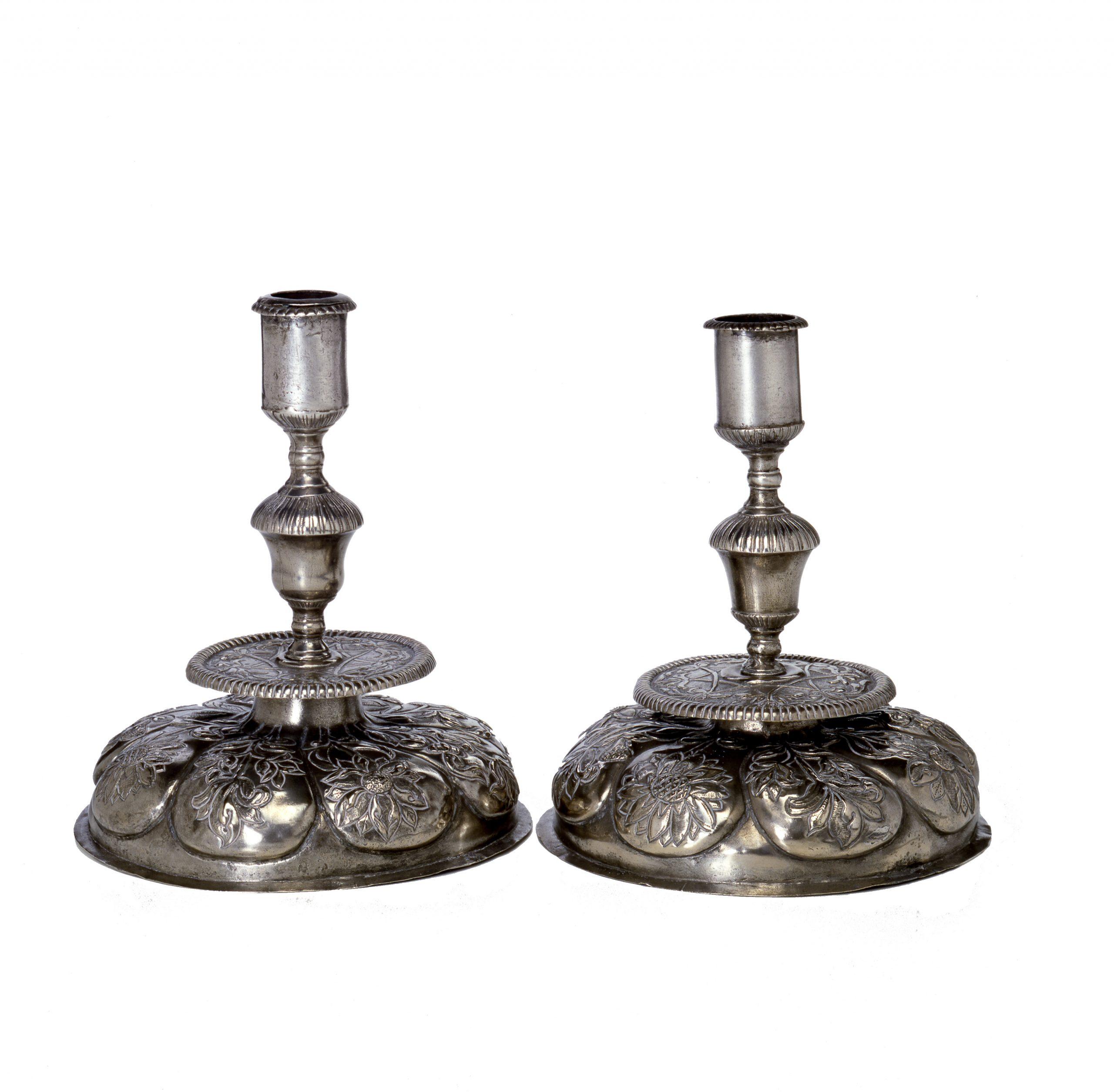 Elegant Hammered Sabbath Candlesticks – Silver Plated