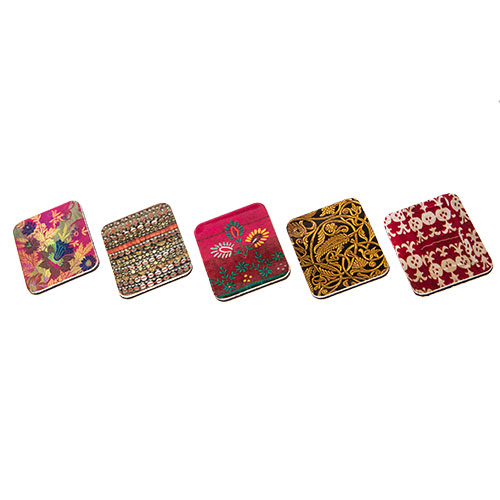 Set Of Five Magnets With Fabric Patterns