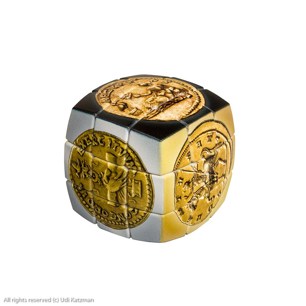 V-Cube (Rubik's Cube) With Image Of Roman Coins