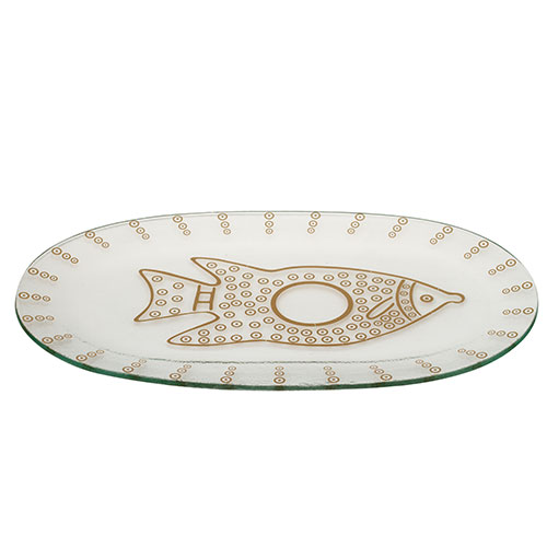 Glass Fish Plate – Gold