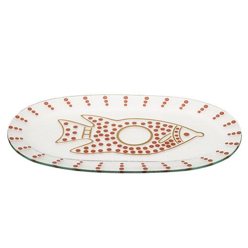 Glass Fish Plate – Burgundy
