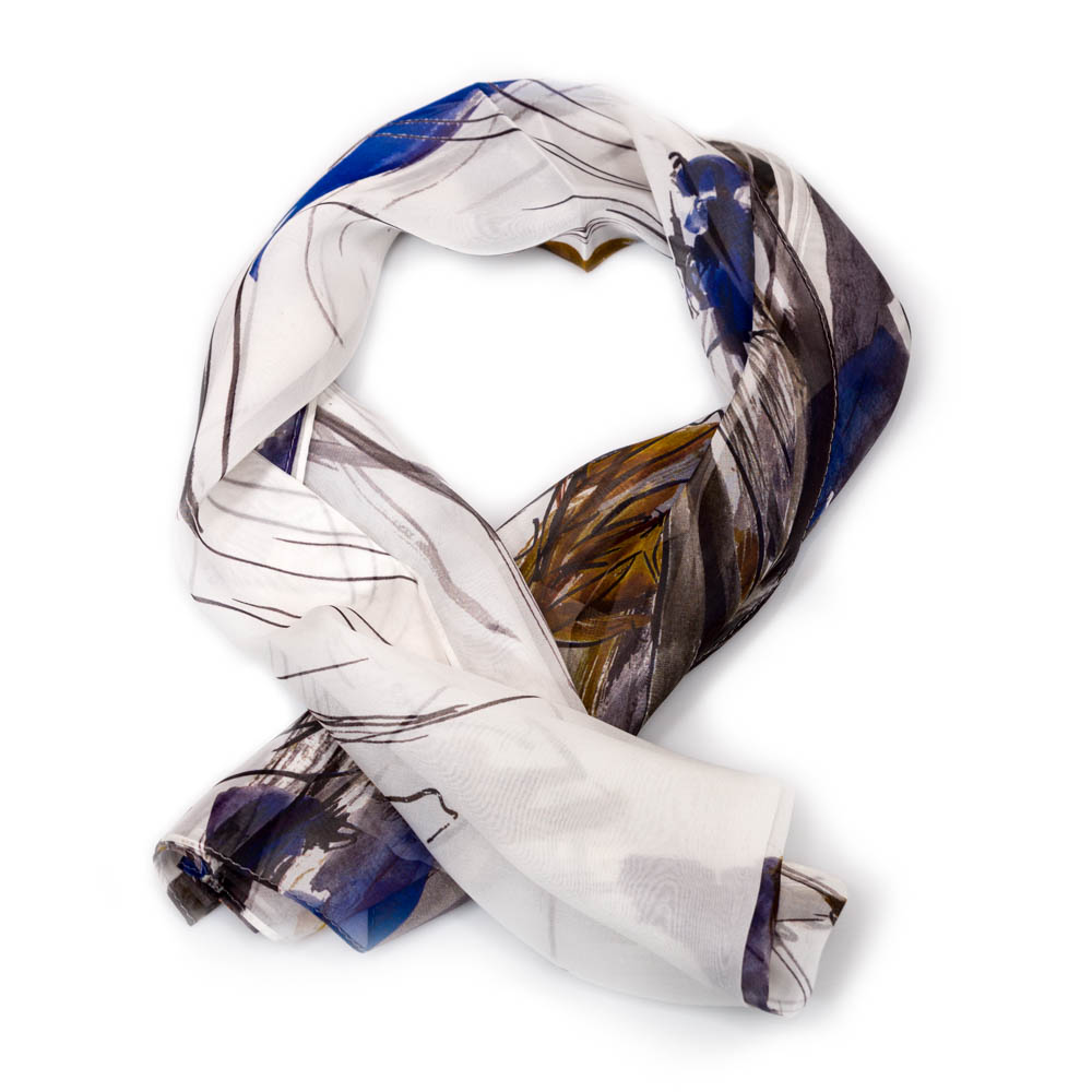 Anna Ticho Blue And Yellow Flowers Scarf