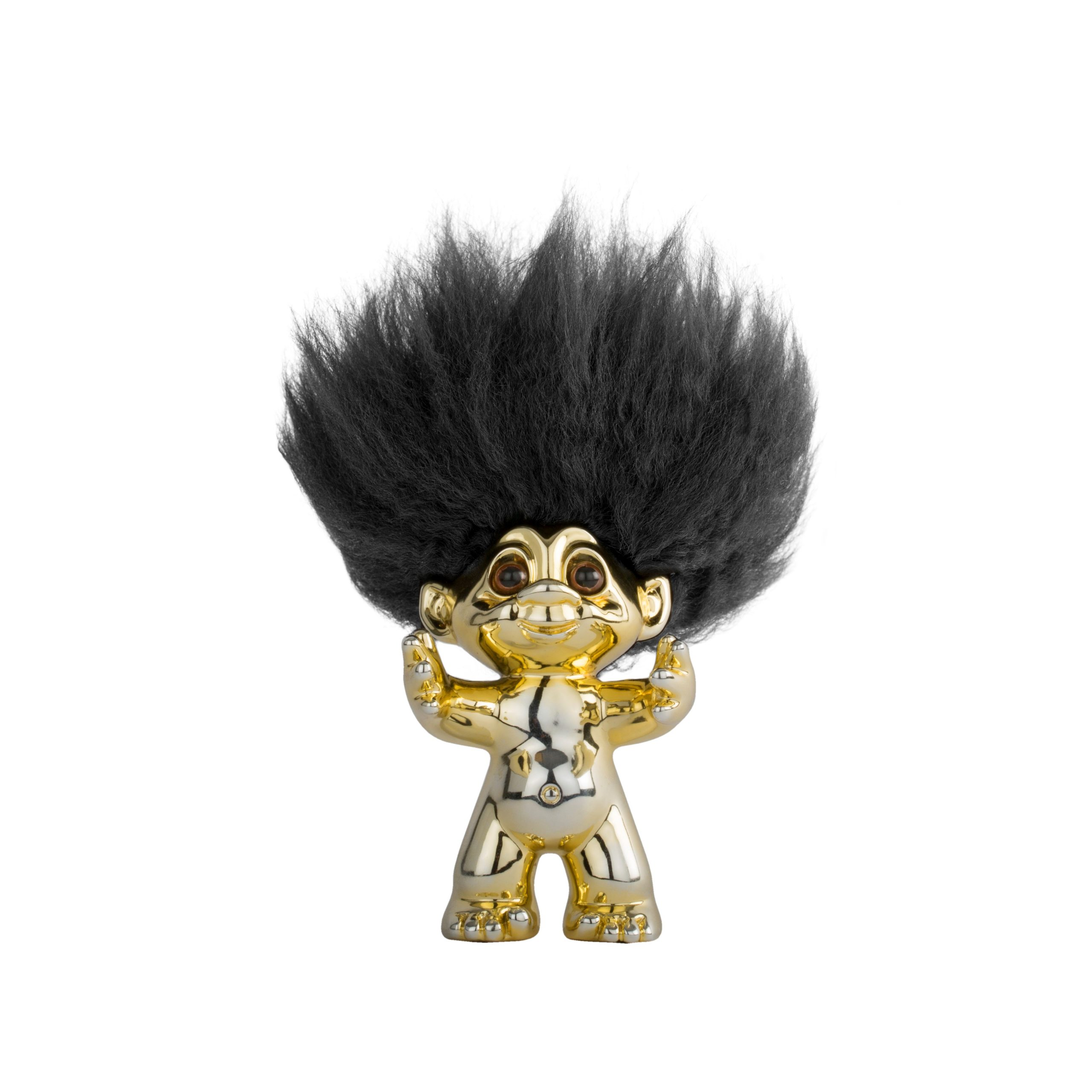 Goodluck Troll – Brass-gold Color With Black Hair