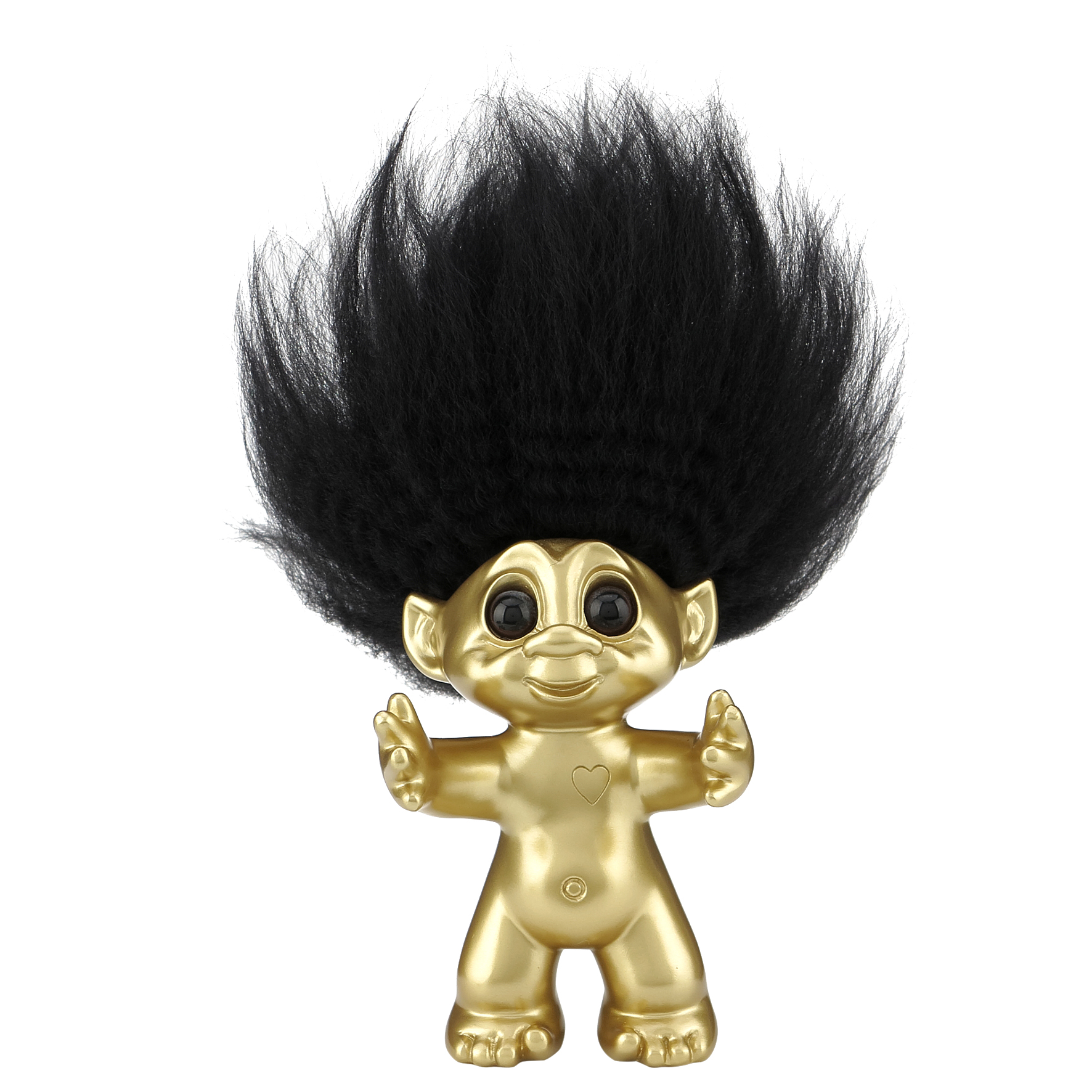 Goodluck Troll – Brushed Brass Color With Black Hair