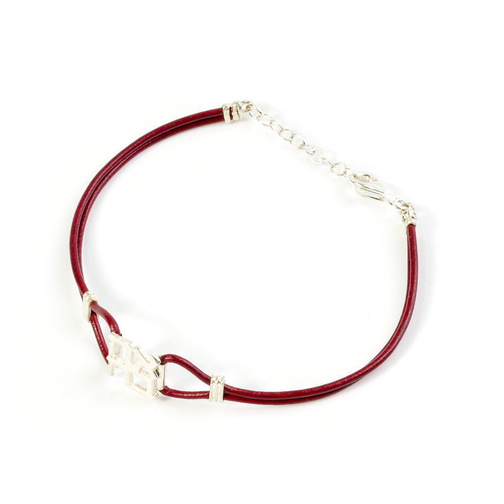 Leather Bracelet With Silver Ahava Pendant