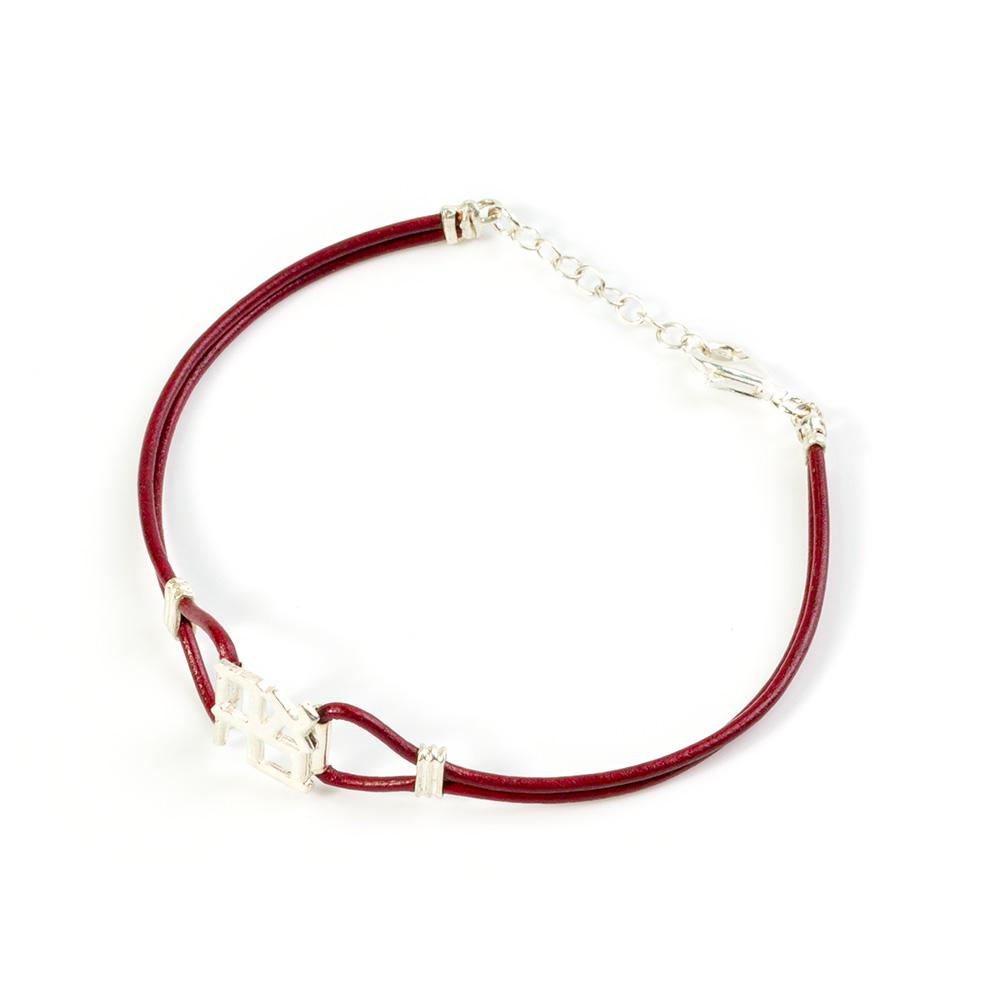 Leather Bracelet With Silver Ahava Pendant