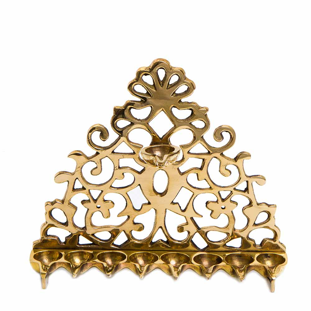 Hanukkah Lamp With Vegetal Motifs (cast Brass)