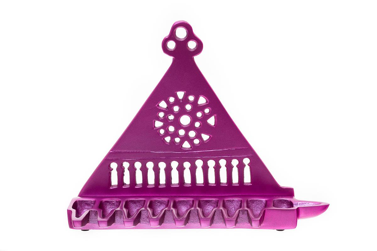 East-and-West Hanukkah Lamp (cast Brass) – Purple