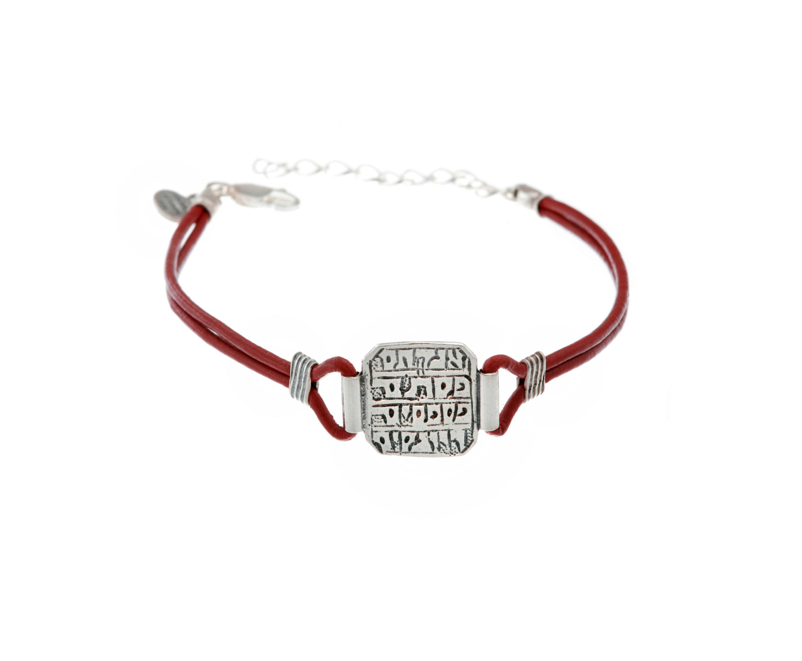 Leather Bracelet With Silver Healing Amuletic Pendant