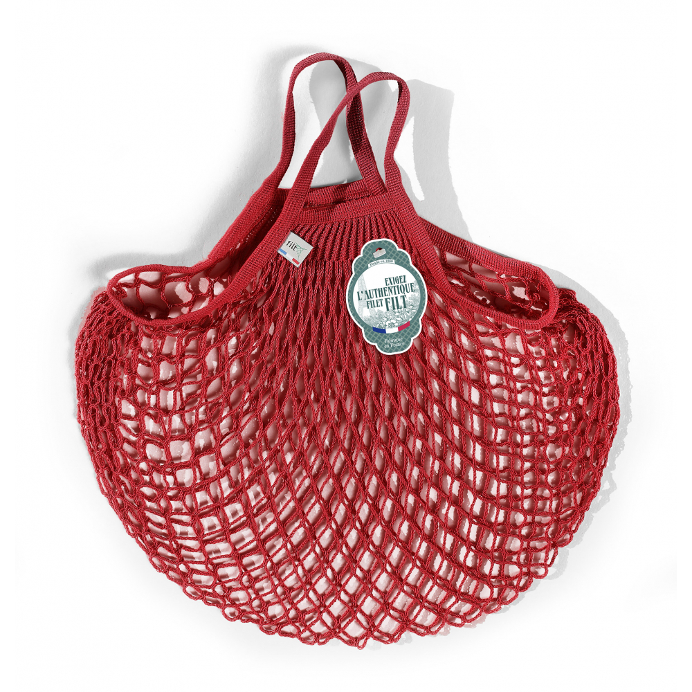 Filt Mesh Shopping Bag With Small Handle – Red