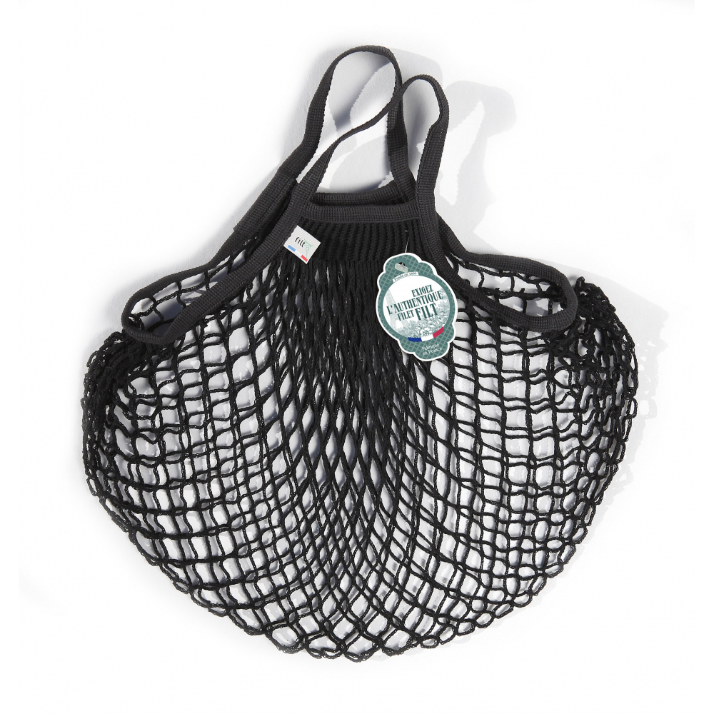 Filt Mesh Shopping Bag With Small Handle – Black