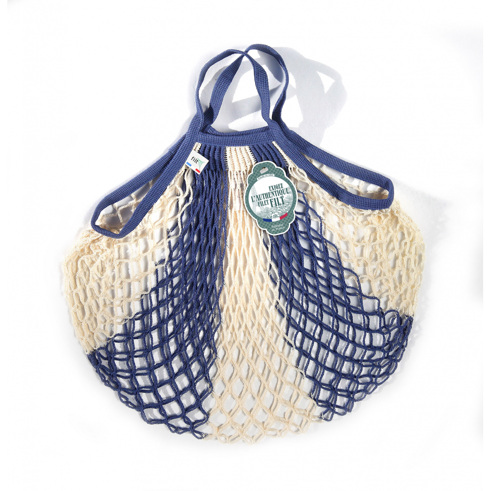Filt Mesh Shopping Bag With Small Handle – Blue And White
