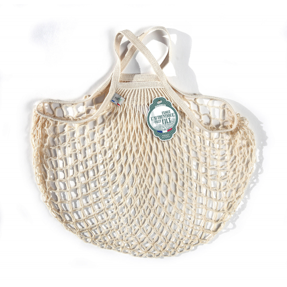 Filt Mesh Shopping Bag With Small Handle – White