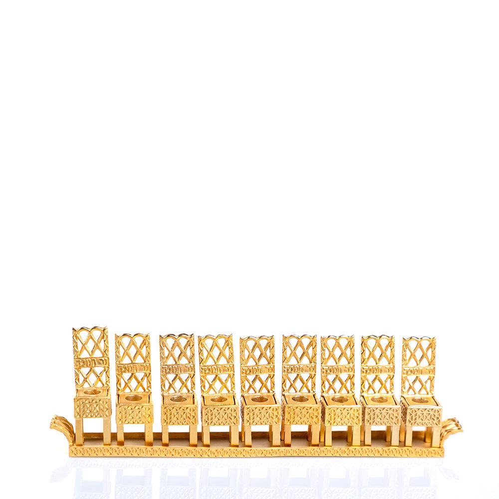 Hanukkah Lamp – Little Chair Design (Gold)