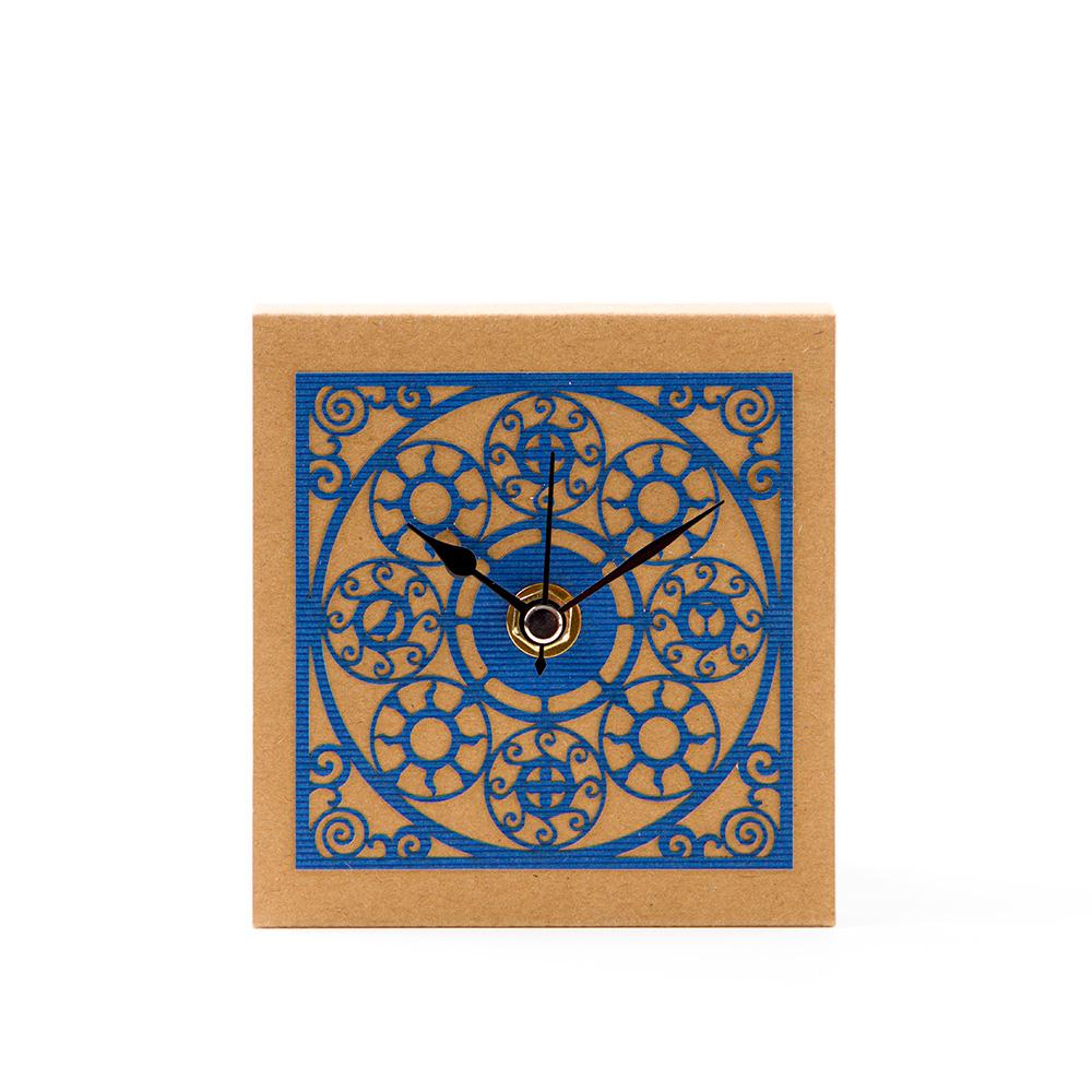 Medallion Pattern Table Clock – Blue