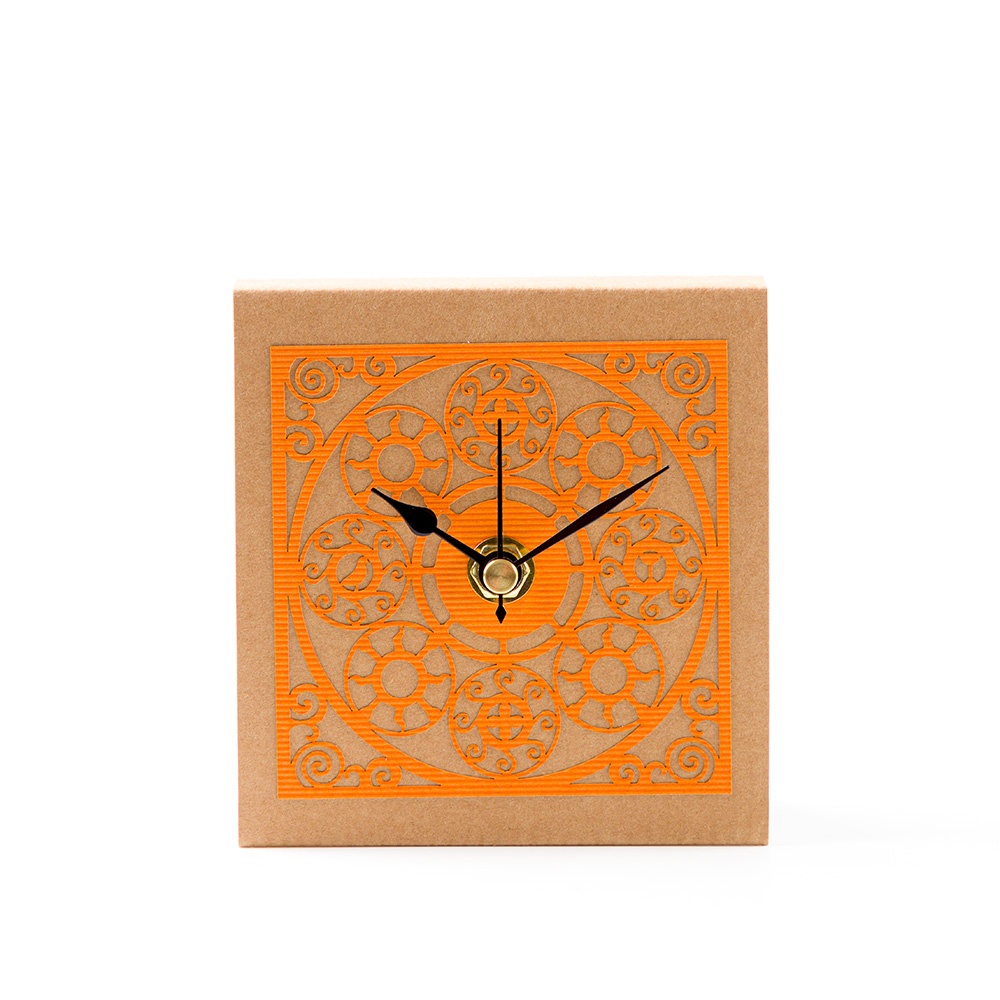 Medallion Pattern Table Clock – Orange