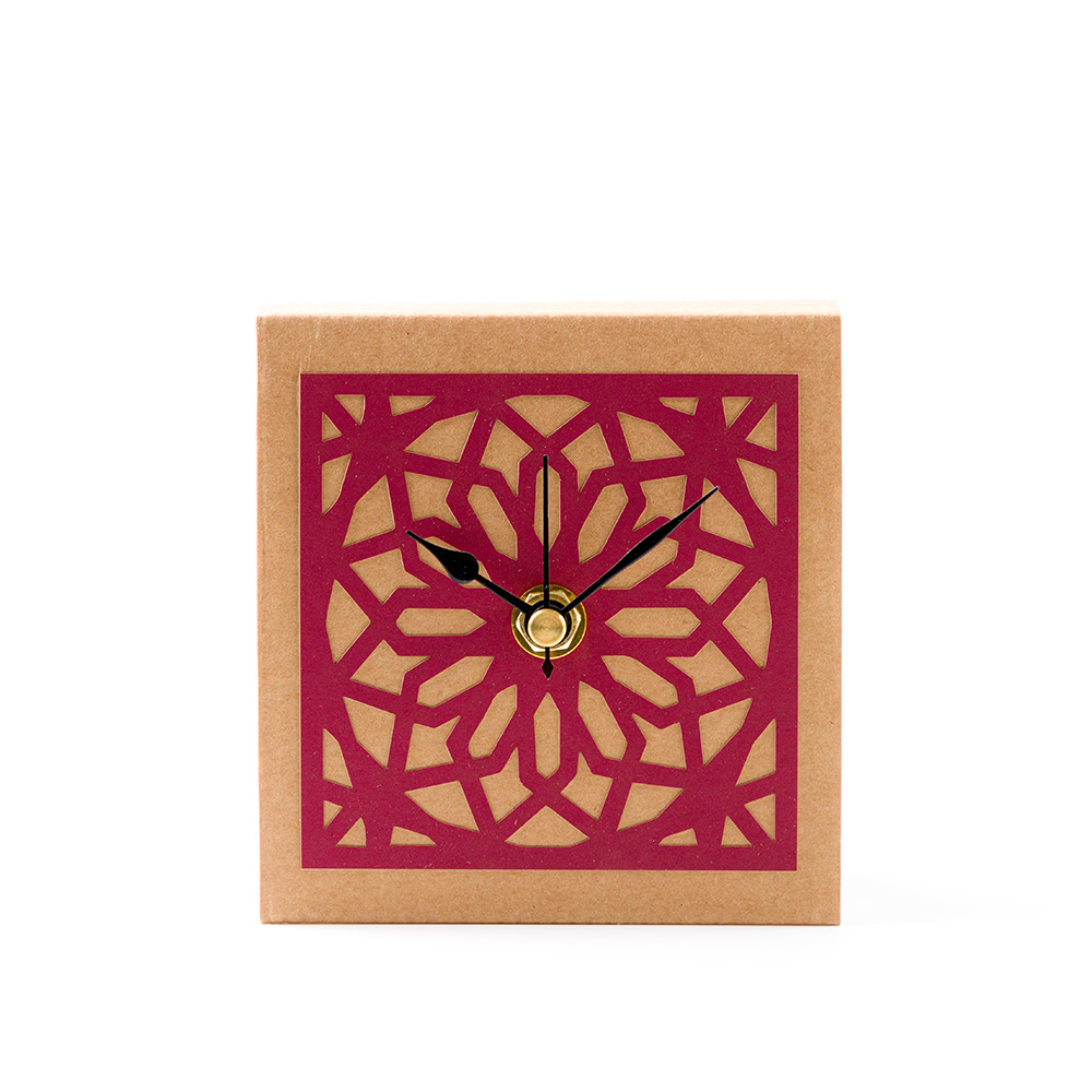 Temple Mount Arabesque Table Clock – Red