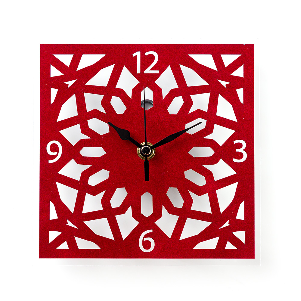 Temple Mount Arabesque Wall Clock – Red