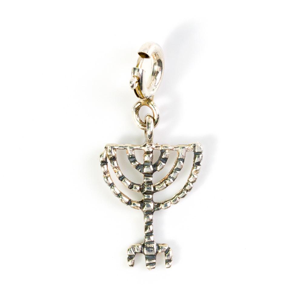 Menorah Bracelet Pendant, Silver