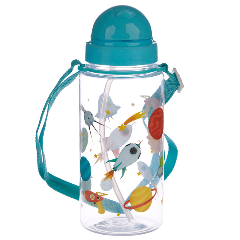 Fun Space Kids' Water Bottle With Flip Straw And Strap