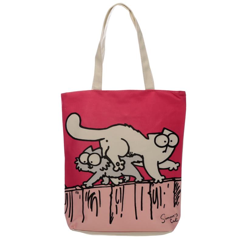 Pink Simon's Cat Cotton Bag